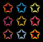 Isolated abstract colorful stars contour logo set on the black baackground. Rating element logotypes collection Royalty Free Stock Photos