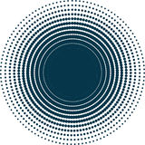 Isolated abstract dark blue dotted background. Round shape decorative backdrop. Stock Photography