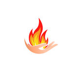 Isolated abstract fire logo. Flame in hand logotype. Hot palm icon. Heat sign. Flammable symbol. Vector illustration. Isolated abstract fire logo. Flame in hand Royalty Free Stock Photos