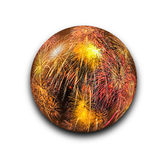 Isolated abstract fireworks in the glass ball on white background with clipping path Stock Photo
