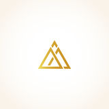 Isolated abstract golden color triangles contour logo on black background, geometric triangular shape logotype, gold Stock Photo