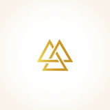Isolated abstract golden color triangles contour logo on black background, geometric triangular shape logotype, gold Royalty Free Stock Photo