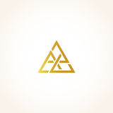 Isolated abstract golden color triangles contour logo on black background, geometric triangular shape logotype, gold Royalty Free Stock Photography