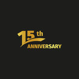 Isolated abstract golden 15th anniversary logo on black background. 15 number logotype. Fifteen years jubilee Royalty Free Stock Image
