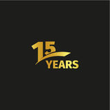 Isolated abstract golden 15th anniversary logo on black background. 15 number logotype. Fifteen years jubilee celebration icon. Fifteenth birthday emblem vector illustration