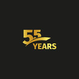 Isolated abstract golden 55th anniversary logo on black background. 55 number logotype. Fifty-five years jubilee. Celebration icon. Fifty-fifth birthday emblem stock illustration
