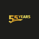 Isolated abstract golden 55th anniversary logo on black background. 55 number logotype. Fifty-five years jubilee. Celebration icon. Fifty-fifth birthday emblem royalty free illustration