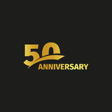 Isolated abstract golden 50th anniversary logo on black background.. 50 number logotype. Fifty years jubilee celebration icon. Fiftieth birthday emblem. Vector Royalty Free Stock Image