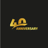Isolated abstract golden 40th anniversary logo on black background. 40 number logotype. Forty years jubilee celebration. Icon. Fortieth birthday emblem. Vector vector illustration