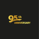 Isolated abstract golden 95th anniversary logo on black background. 95 number logotype. Ninty-five years jubilee Royalty Free Stock Photos