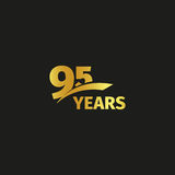 Isolated abstract golden 95th anniversary logo on black background. 95 number logotype. Ninty-five years jubilee Royalty Free Stock Photo