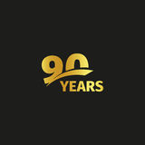 Isolated abstract golden 90th anniversary logo on black background. 90 number logotype. Ninty years jubilee celebration Stock Photos