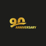 Isolated abstract golden 90th anniversary logo on black background. 90 number logotype. Ninty years jubilee celebration Royalty Free Stock Image