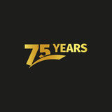 Isolated abstract golden 75th anniversary logo on black background. 75 number logotype. Seventy-five years jubilee Stock Images