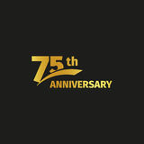 Isolated abstract golden 75th anniversary logo on black background.   Stock Photo