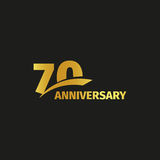 Isolated abstract golden 70th anniversary logo on black background.. Isolated abstract golden 70th anniversary logo on black background. 70 number logotype Stock Image