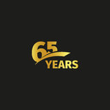 Isolated abstract golden 65th anniversary logo on black background. 65 number logotype. Sixty-five years jubilee. Celebration icon. Birthday emblem. Vector Vector Illustration
