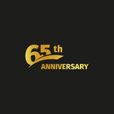 Isolated abstract golden 65th anniversary logo on black background. 65 number logotype. Sixty-five years jubilee. Celebration icon. Birthday emblem. Vector Stock Illustration