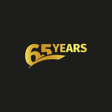 Isolated abstract golden 65th anniversary logo on black background. 65 number logotype. Sixty-five years jubilee. Celebration icon. Birthday emblem. Vector Stock Image