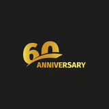 Isolated abstract golden 60th anniversary logo on black background.   Stock Photo