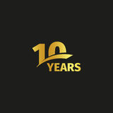 Isolated abstract golden 10th anniversary logo on black background. 10 number logotype. Ten years jubilee celebration icon. Tenth birthday emblem. Vector Stock Illustration