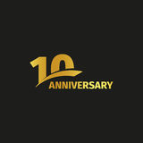 Isolated abstract golden 10th anniversary logo on black background.. 10 number logotype. Ten years jubilee celebration icon. Tenth birthday emblem. Vector Royalty Free Stock Images