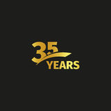 Isolated abstract golden 35th anniversary logo on black background. 35 number logotype. Thirty-five years jubilee. Celebration icon. Thirty-fifth birthday Stock Images