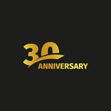 Isolated abstract golden 30th anniversary logo on black background. 30 number logotype. Thirty years jubilee celebration Stock Images
