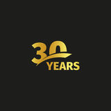 Isolated abstract golden 30th anniversary logo on black background. 30 number logotype. Thirty years jubilee celebration. Icon. Thirtieth birthday emblem Stock Photo