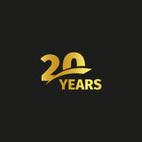 Isolated abstract golden 20th anniversary logo on black background.. 20 number logotype. Twenty years jubilee celebration icon. Twentieth birthday emblem Stock Image