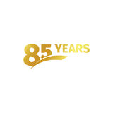 Isolated abstract golden 85th anniversary logo on white background. 85 number logotype. Eighty-five years jubilee. Celebration icon. Birthday emblem. Vector Royalty Free Stock Image
