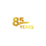 Isolated abstract golden 85th anniversary logo on white background. 85 number logotype. Eighty-five years jubilee Royalty Free Stock Image