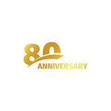 Isolated abstract golden 80th anniversary logo on white background. 80 number logotype. Eighty years jubilee celebration. Icon. Eightieth birthday emblem Stock Images