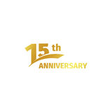 Isolated abstract golden 15th anniversary logo on white background. 15 number logotype. Fifteen years jubilee Royalty Free Stock Photo