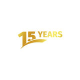Isolated abstract golden 15th anniversary logo on white background. 15 number logotype. Fifteen years jubilee Stock Photo