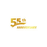 Isolated abstract golden 55th anniversary logo on white background. 55 number logotype. Fifty-five years jubilee. Celebration icon. Birthday emblem. Vector royalty free illustration