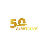 Isolated abstract golden 50th anniversary logo on white background. 50 number logotype. Fifty years jubilee celebration. Icon. Fiftieth birthday emblem. Vector Stock Image