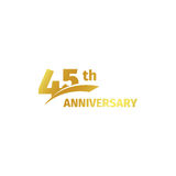 Isolated abstract golden 45th anniversary logo on white background. 45 number logotype. Forty-five years jubilee. Celebration icon. Birthday emblem. Vector Stock Photo