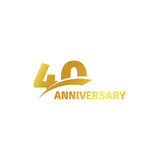 Isolated abstract golden 40th anniversary logo on white background. 40 number logotype. Forty years jubilee celebration Royalty Free Stock Photos