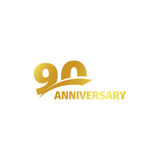 Isolated abstract golden 90th anniversary logo on white background. 90 number logotype. Ninty years jubilee celebration Stock Photography