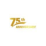 Isolated abstract golden 75th anniversary logo on white background. 75 number logotype. Seventy-five years jubilee Stock Images