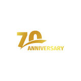 Isolated abstract golden 70th anniversary logo on white background. 70 number logotype. Seventy years jubilee. Celebration icon. Seventieth birthday emblem Stock Photography