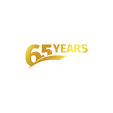 Isolated abstract golden 65th anniversary logo on white background. 65 number logotype. Sixty-five years jubilee. Celebration icon. Birthday emblem. Vector Stock Photos