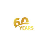 Isolated abstract golden 60th anniversary logo on white background. 60 number logotype. Sixty years jubilee celebration Royalty Free Stock Images