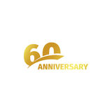 Isolated abstract golden 60th anniversary logo on white background. 60 number logotype. Sixty years jubilee celebration Stock Photography