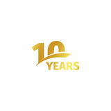 Isolated abstract golden 10th anniversary logo on white background. 10 number logotype. Ten years jubilee celebration. Icon. Tenth birthday emblem. Vector