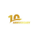Isolated abstract golden 10th anniversary logo on white background. 10 number logotype. Ten years jubilee celebration. Icon. Tenth birthday emblem. Vector Royalty Free Stock Image