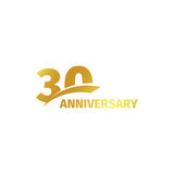 Isolated abstract golden 30th anniversary logo on white background. 30 number logotype. Thirty years jubilee celebration Stock Photos