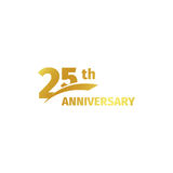 Isolated abstract golden 25th anniversary logo on white background. 25 number logotype. Twenty-five years jubilee. Celebration icon. Birthday emblem. Vector Royalty Free Stock Images