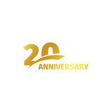 Isolated abstract golden 20th anniversary logo on white background. 20 number logotype. Twenty years jubilee celebration. Icon. Twentieth birthday emblem Stock Image